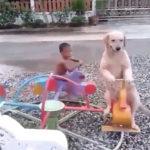 小さいメリーゴーランドに乗る犬と子供